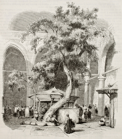 islamic scenery: Mosque of Kesmas-el-Baradeyeh courtyard, Cairo. Created by Girardet, published on Magasin Pittoresque, Paris, 1845