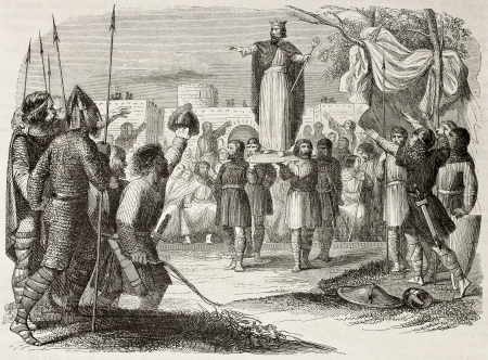 sovereignty: King on shield old illustration (antique Franc tradition of sovereignty election). By unidentified author, published on Magasin Pittoresque, Paris, 1845