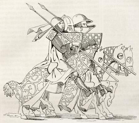 edad media: Caballeros de ir a un torneo. Después manuscrito del siglo 14, publicada en Magasin Pittoresque, París, 1845