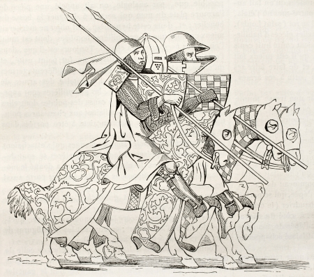 antiquity: Knights going to a tourney. After 14th century manuscript, published on Magasin Pittoresque, Paris, 1845