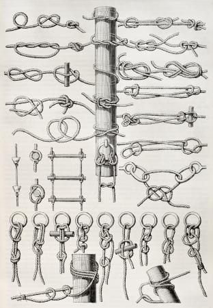 Illustration noeud vieille table. Créé par Thiollet, publié le Magasin Pittoresque, Paris, 1845