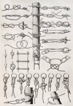 Knot table old illustration. Created by Thiollet, published on Magasin Pittoresque, Paris, 1845