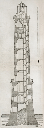 erecting: Heaux de Brehat lighthouse old section plan. By unidentified author, published on Magasin Pittoresque, Paris, 1845