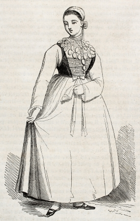 Lusatia woman in traditional costume old illustration (easter Germany region). By unidentified author, published on Magasin Pittoresque, Paris, 1845 Stock Photo - 15270200