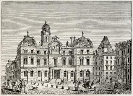 Hotel de Ville de Lyon (city hall). Created by Best and Leloir, published on Magasin Pittoresque, Paris, 1845 Stock Photo - 15270472
