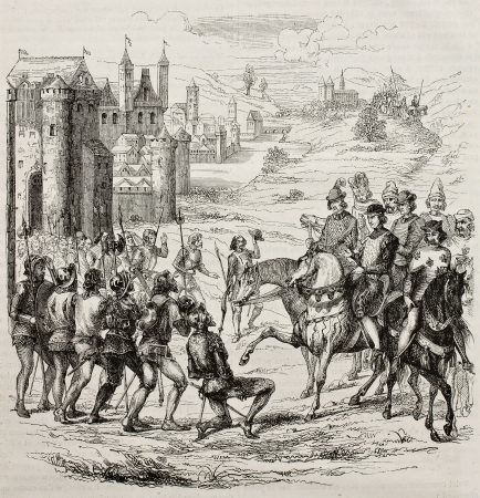 oppression: Maillotins revolt old illustration (Under Charles VI rule, against fiscal oppression in French Kingdom). After engraving kept in French Royal Library, published on Magasin Pittoresque, Paris, 1845