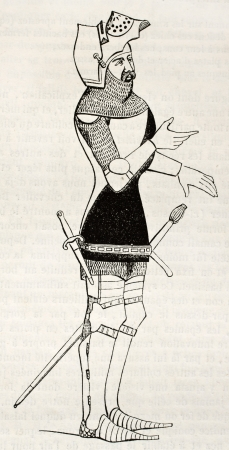 Medieval knight old illustration. By unidentified author, published on Magasin Pittoresque, Paris, 1845