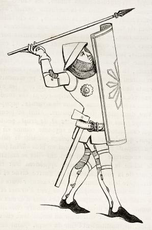lanzamiento de jabalina: Ilustración viejo soldado medieval. Después de imprimir siglo 14, publicado el Magasin Pittoresque, París, 1845 Editorial