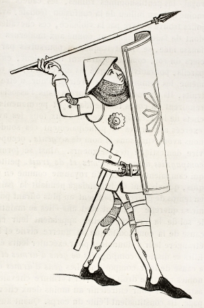spears: Medieval soldier old illustration. After 14th century print, published on Magasin Pittoresque, Paris, 1845