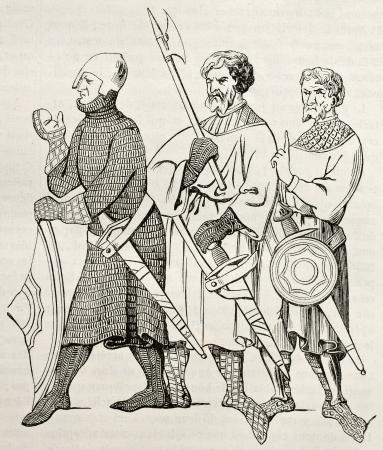 edad media: Tres soldados medievales ilustración edad. Después miniatura del siglo 14, publicada en Magasin Pittoresque, París, 1845