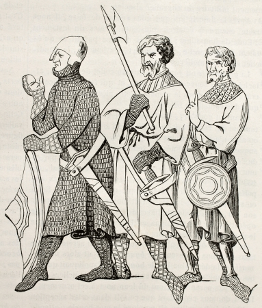 Three medieval soldiers old illustration. After 14th century miniature, published on Magasin Pittoresque, Paris, 1845 Éditoriale