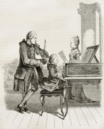 モーツァルトは彼の父と妹 1763 年に、古いイラスト子供だろうか。Carmontelle、水彩、パリ、マガシンドス Pittoresque 1845 掲載後