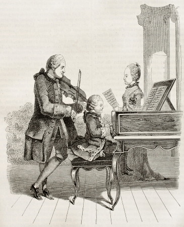 of mozart: Mozart wonder child with his father and sister in 1763, old illustration. After Carmontelle, watercolour, published on Magasin Pittoresque, Paris, 1845
