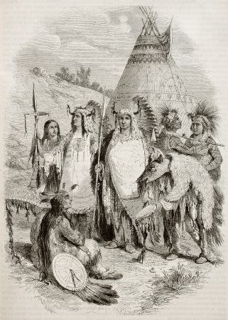 tepee: Native Americans tribe old illustration. By unidentified author, published on Magasin Pittoresque, Paris, 1845