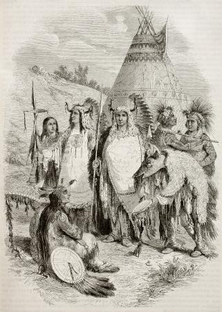 indios americanos: Nativos americanos antigua tribu ilustración. Por autor no identificado, publicado el Magasin Pittoresque, París, 1845