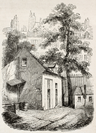 pascal: The house where Blaise Pascal died in rue Neuve-Saint-Etienne, Paris. Created by Durond, published on Magasin Pittoresque, Paris, 1845