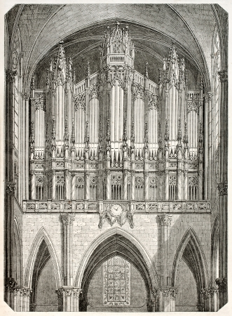 abbey: Saint-Denis organ old illustration. Created by Marville and Brugnot, published on Magasin Pittoresque, Paris, 1845