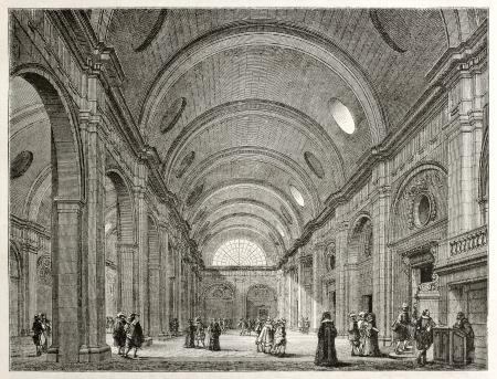 printmaking: Palais de Justice interior (salle-de-pas-perdus), Paris. Created by Best, Leloir, Hotelin and Regnier, published on Magasin Pittoresque, Paris, 1845 Editorial