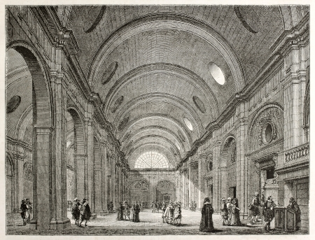 Palais de Justice interior (salle-de-pas-perdus), Paris. Created by Best, Leloir, Hotelin and Regnier, published on Magasin Pittoresque, Paris, 1845 Editorial