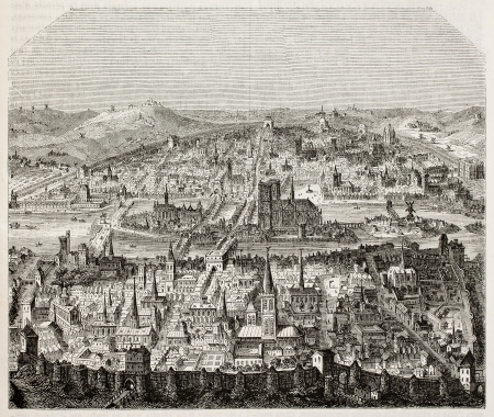 16th century: Paris old bird eye view. After print of late 16th century, published on Magasin Pittoresque, Paris, 1845 Editorial