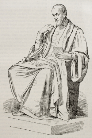 sculpted: Etienne Pasqueier marble statue, old illustration. Sculpted by Foyatier, published on Magasin Pittoresque, Paris, 1845 Editorial