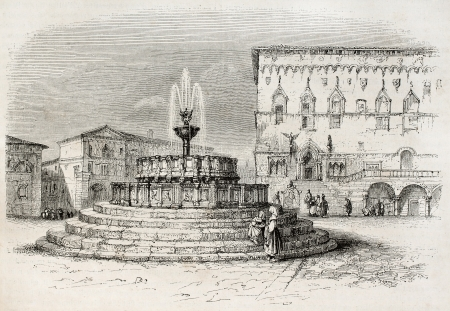 greater: Perugia old view, Italy (Fontana Maggiore and Palazzo dei Priori in background). Created by Brugnot, published on Magasin Pittoresque, Paris, 1845