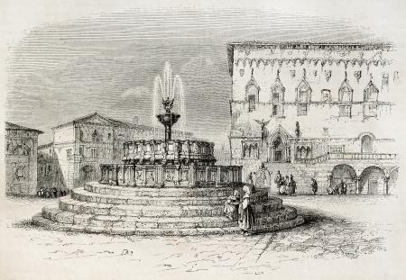 priori: Perugia vecchio vista, l'Italia (Fontana Maggiore e Palazzo dei Priori in background). Creato da Brugnot, pubblicato il Magasin Pittoresque, Parigi, 1845 Editoriali