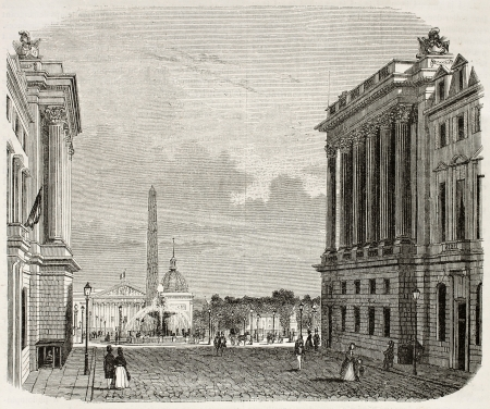Place de la Concorde old view, Paris. Created by Marville, published on Magasin Pittoresque, Paris, 1845