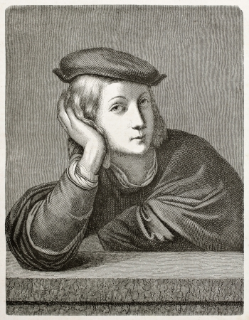 Man portrait. After painting by Raphael kept in Louvre museum, published on Magasin Pittoresque, Paris, 1845 Editorial
