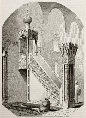 Stone pulpit in mosque of Barkuk, Cairo. Created by Marilhat, published on Magasin Pittoresque, Paris, 1845 Stock Photo - 15270470