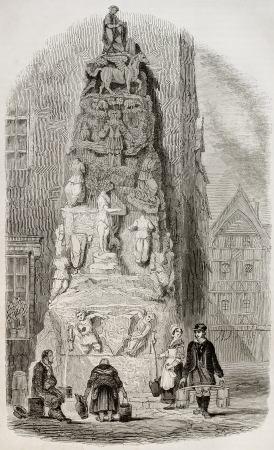old fashioned sepia: Hotel de Lisieux fountain in Rouen, rue de la Savonnerie, 4. By unidentified author, published on Magasin Pittoresque, Paris, 1845 Editorial