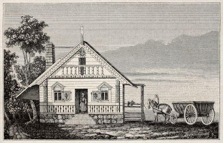 Russian-American house old illustration (age of Russian colonization of North-America). By unidentified author, published on Magasin Pittoresque, Paris, 1845