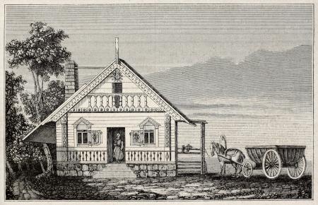 colonisation: Russo-americano casa vecchia illustrazione (et� della colonizzazione russa del Nord-America). Per autore non identificato, pubblicato il Magasin Pittoresque, Parigi, 1845