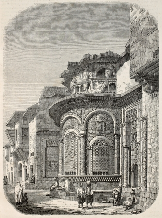 moresque: Seby-el-Bedawieh fountain old view, Cairo. Created by Marilhat and Brugnot, published on Magasin Pittoresque, Paris, 1845 Editorial