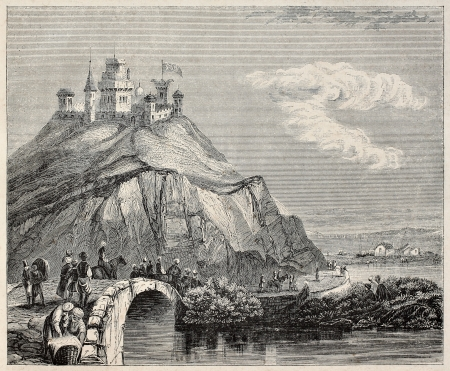 Fort and town of Silivri old illustration (formerly Selymbria), Istanbul Province. After print of Herve, published on Magasin Pittoresque, Paris, 1845. Stock Photo - 15270247