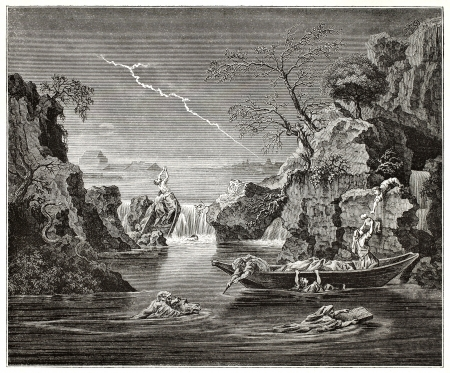 deluge: The deluge old pictorial representation. Created by Frere after painting by Poussin kept in Louvre museum, published on Magasin Pittoresque, Paris, 1845 Editorial