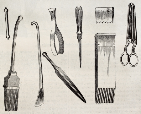 published: Upholstering tools old illustration. By unidentified author, published on Magasin Pittoresque, Paris, 1845