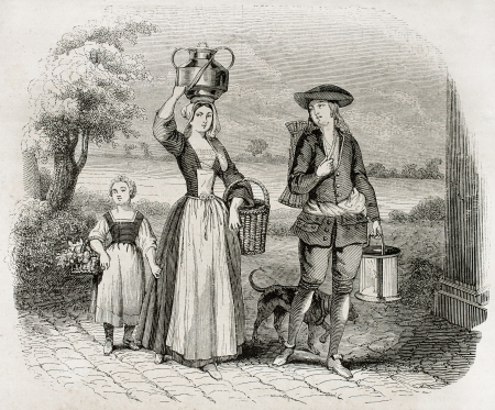 17th: Wafers merchant old illustration. After 17th century old print, published on Magasin Pittoresque, Paris, 1845