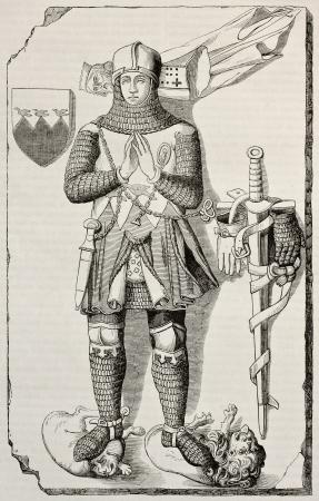 edad media: Caballero de Berthold Waldner lápida vieja ilustración. Después de la escultura del siglo 14, publicada en Magasin Pittoresque, París, 1845 Editorial