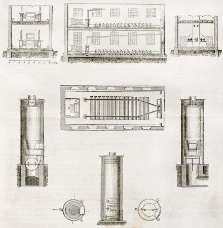 aeration: Old schematic illustrations of house aeration system. By unidentified author, published on Magasin Pittoresque, Paris, 1850