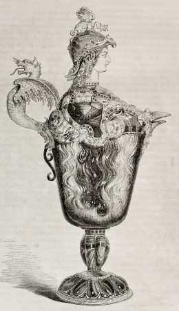 mannerism: Old illustration of a 16th century decorated jug, attributed to Benvenuto Cellini, kept in Louvre museum. Created by Freeman, published on Magasin Pittoresque, Paris, 1850 Editorial