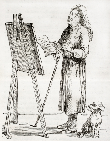 Antique caricature of an art critic, created by Watelet after Portien in 1750, published on Magasin Pittoresque, Paris, 1850