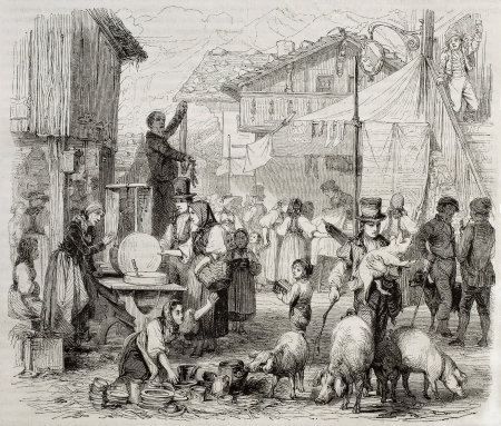 market place: Old illustration of Brienz fair, in the Swiss canton of Berne. Created by Girardet, published on Magasin Pittoresque, Paris, 1850 Editorial