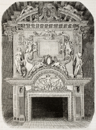 bas: Antique illustration of an old fireplace in Cadillac castle, in the Gironde department, France. Created by Dyouin and Soupey, published on Magasin Pittoresque, Paris, 1850