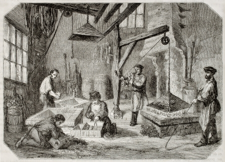 antique factory: Old illustration of carburizing workshop in antique needle factory. By unidentified author, published on Magasin Pittoresque, Paris, 1850