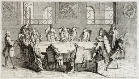 Old illustration of cards players in the beginning of 18th century. Created by Leclerc, published on Magasin Pittoresque, Paris, 1850