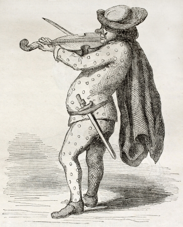 17th century: Old illustration of man playing violin wearing carnival costume; drawn from a 17th century peinture in Bonnardot collection. By unidentified author, published on Magasin Pittoresque, Paris, 1850