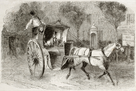 horse carriage: Old illustration of a carriage with passengers in Paris. Created by Blanchard, published on Magasin Pittoresque, Paris, 1850