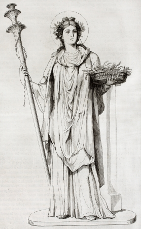 fertility goddess: Ceres, the Roman goddess of agriculture. After painting found in Pompeii, reproduced on table XXXV, vol. IX of Royal Bourbon Museum, Naples, Italy. Published on Magasin Pittoresque, Paris, 1850