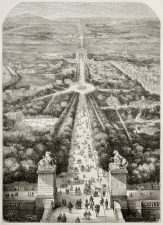 sculp: Old bird wiew illustration of avenue of Champs Elysees, Paris. Created by Champin (Best, Hotelin and Regnier sculp.), published on Magasin Pittoresque, Paris, 1850. Editorial